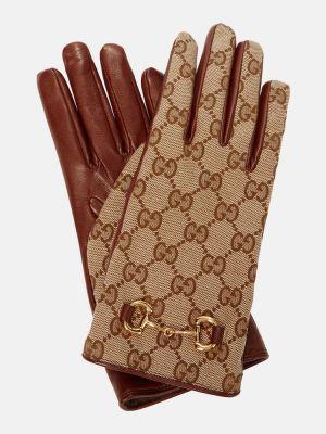 Кожаные перчатки - коричневые Gucci