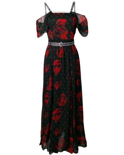 Платье макси с цветочным принтом с поясом Karl Lagerfeld