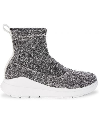 Кожаные кроссовки - серебряные Fitflop