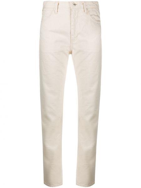 Beżowe jeansy bawełniane z paskiem Jil Sander