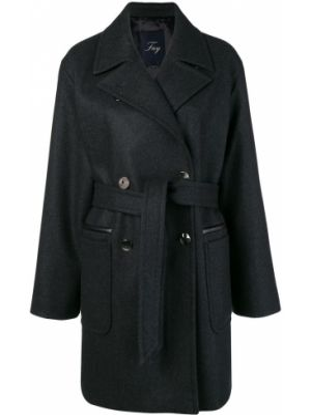Черное шерстяное пальто с лацканами с карманами Fay
