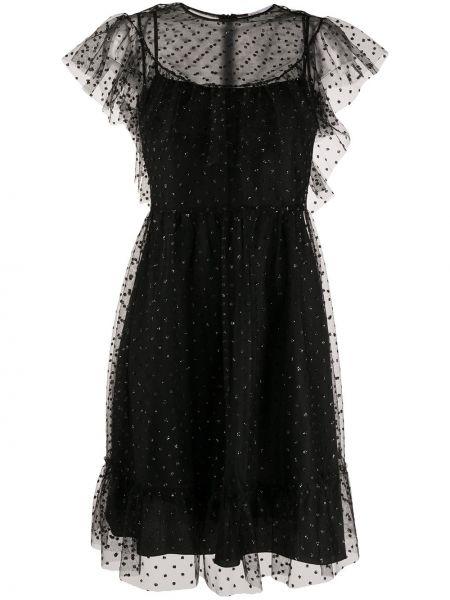 Платье миди с баской в горошек Redvalentino
