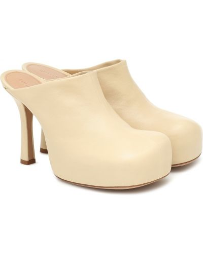 Желтые кожаные мюли на платформе Bottega Veneta