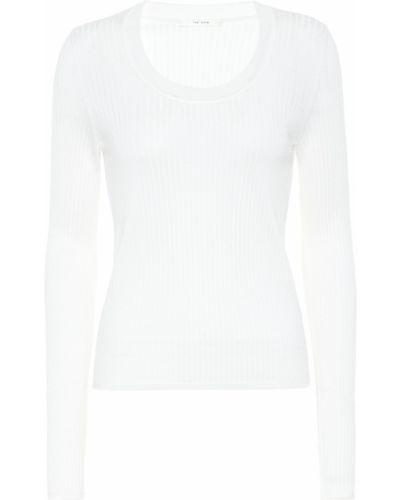 Повседневный белый шерстяной свитер The Row