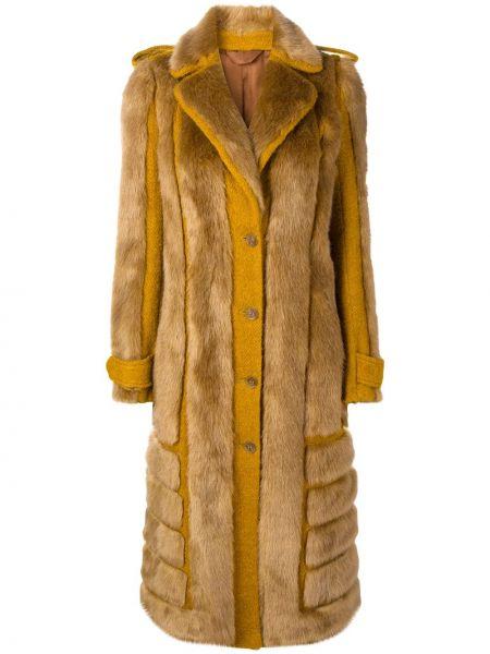 Длинное пальто из искусственного меха на пуговицах с воротником Acne Studios