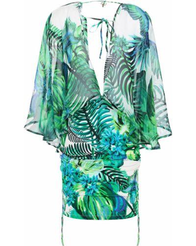Пляжное шелковое зеленое платье мини Roberto Cavalli
