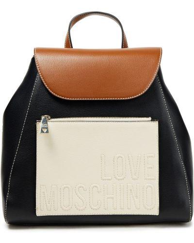С ремешком черный рюкзак из натуральной кожи Love Moschino