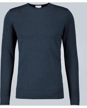 Мягкий шерстяной классический синий свитер Sunspel