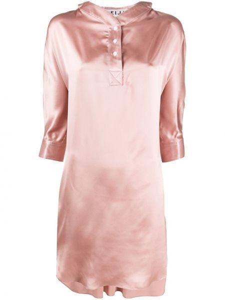 Розовое платье на пуговицах с воротником с вырезом Teija