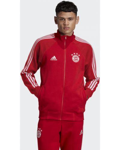 Футбольная красная куртка с вышивкой Adidas