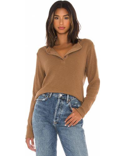 Bawełna z rękawami brązowy włókienniczy t-shirt Re/done
