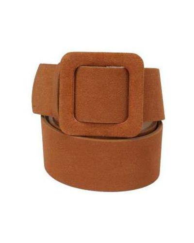 Кожаный коричневый широкий ремень с пряжкой свободного кроя Ekonika