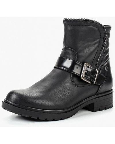 Кожаные ботинки осенние черные Tamaris