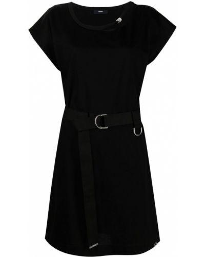 Прямое черное платье мини с вырезом Diesel