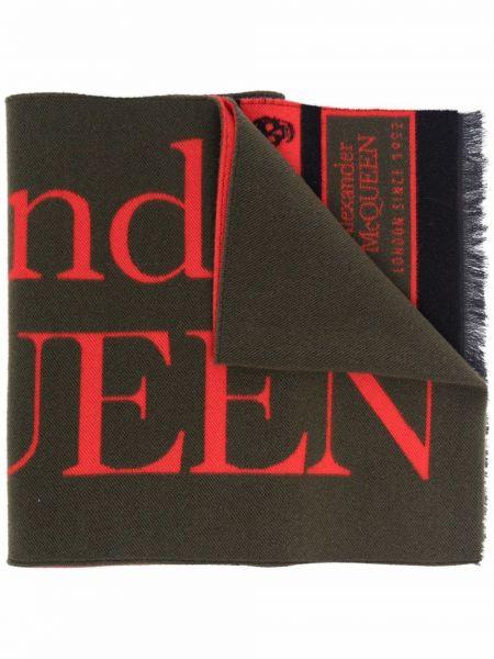 Szalik z frędzlami - czerwony Alexander Mcqueen