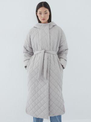 Серое пальто из полиэстера Zarina