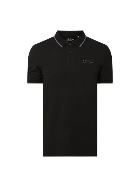 T-shirt z printem - czarna S.oliver Red Label