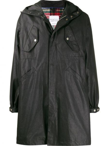 Czarny płaszcz przeciwdeszczowy z długimi rękawami z kapturem Raglan United