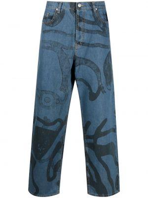 Синие широкие джинсы свободного кроя на молнии Kenzo