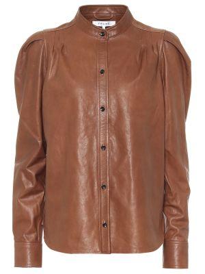 Кожаная коричневая блузка Frame