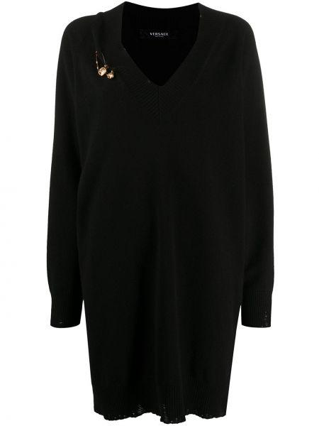 Шерстяное черное вязаное платье с V-образным вырезом Versace