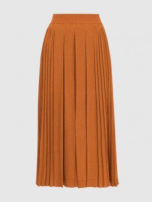 Оранжевая шелковая юбка миди Loro Piana