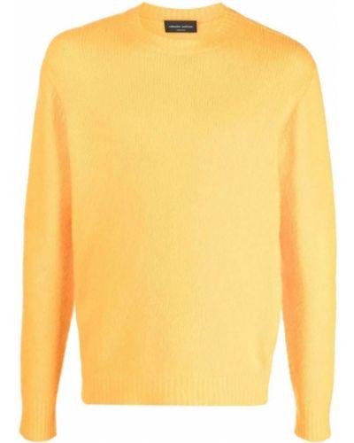 Z kaszmiru sweter - żółty Roberto Collina