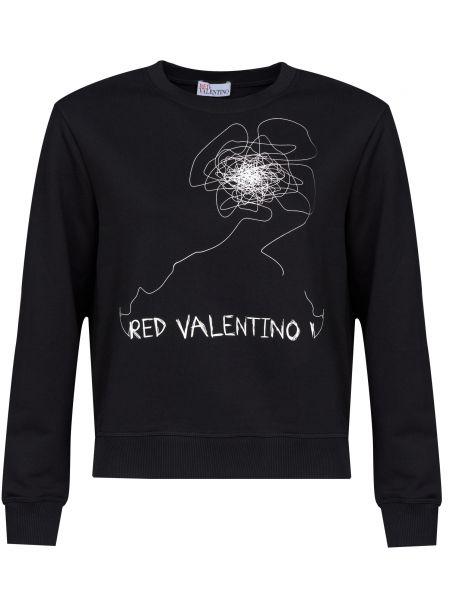 Хлопковый черный джемпер Red Valentino