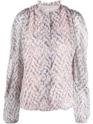 Плиссированная розовая блузка с воротником Lala Berlin