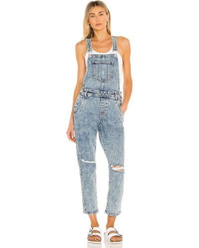 Хлопковый синий джинсовый комбинезон с карманами [blanknyc]