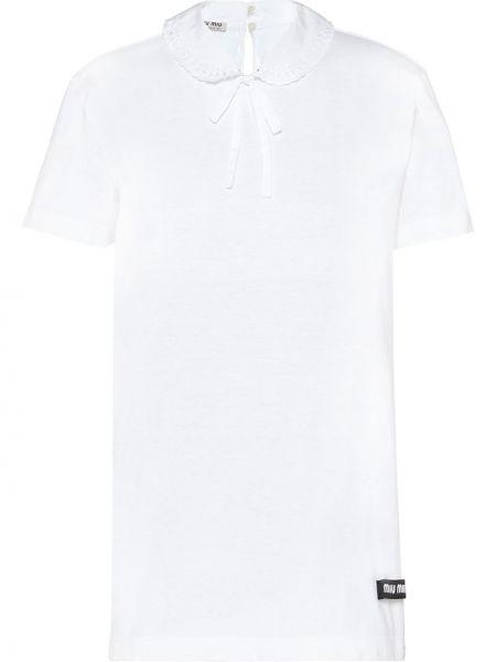 Однобортная рубашка с коротким рукавом с воротником с лебяжьим пухом Miu Miu
