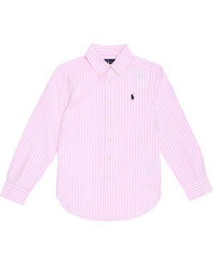 Różowa koszula bawełniana w paski Polo Ralph Lauren Kids