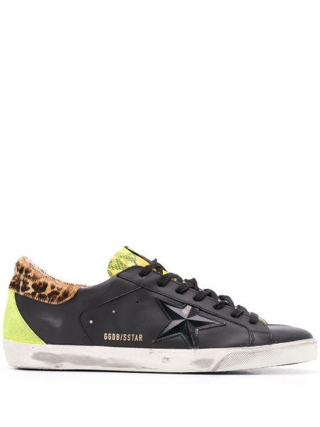 Ażurowy czarny włókienniczy sneakersy z łatami Golden Goose