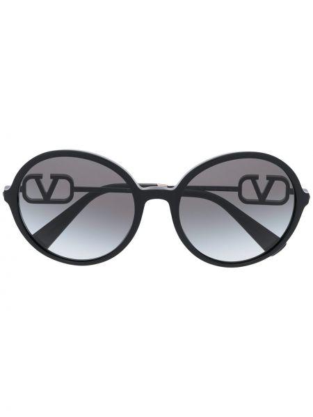 Черные солнцезащитные очки круглые металлические Valentino Eyewear