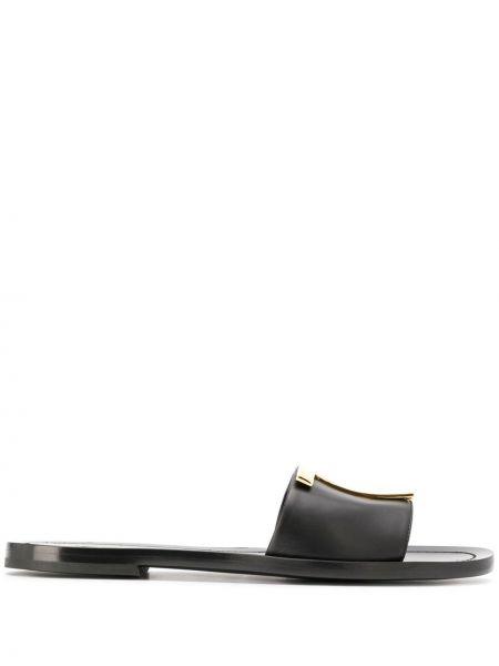 Черные шлепанцы металлические с тиснением без застежки Tom Ford