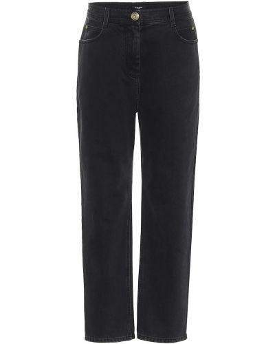 Прямые ватные хлопковые черные прямые джинсы Balmain