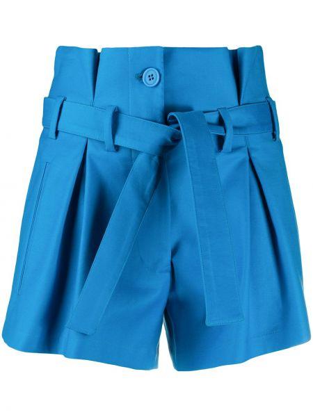 Niebieskie krótkie szorty z wysokim stanem bawełniane Attico