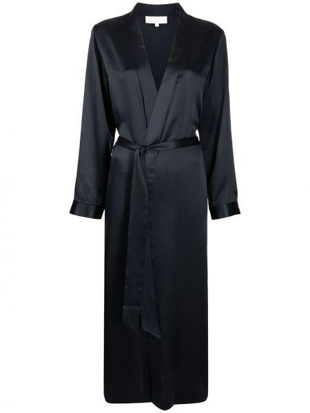 Шелковый халат - синий Michelle Mason