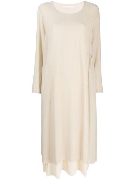 С рукавами шелковое платье с вырезом круглое Elsa Esturgie