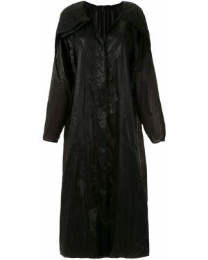 Черное длинное пальто с капюшоном металлическое Mara Mac