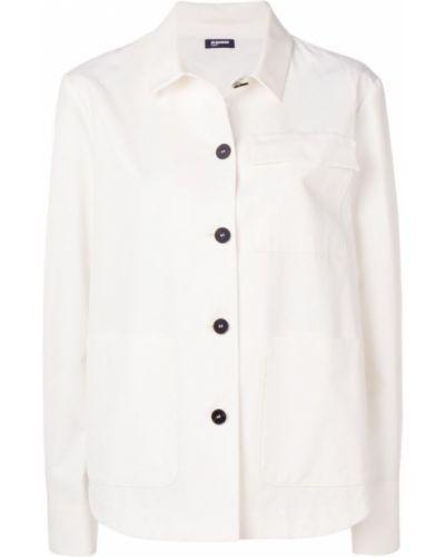 Джинсовая рубашка белая с карманами Jil Sander Navy