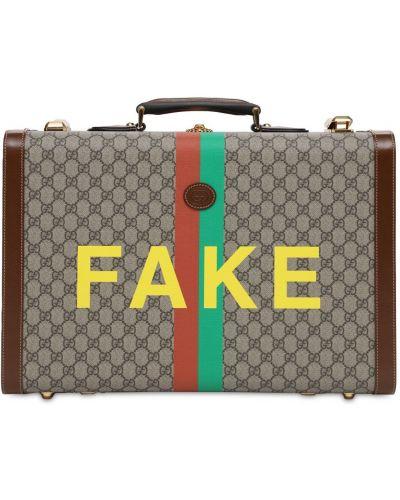 Бежевый кожаный чемодан с подкладкой Gucci