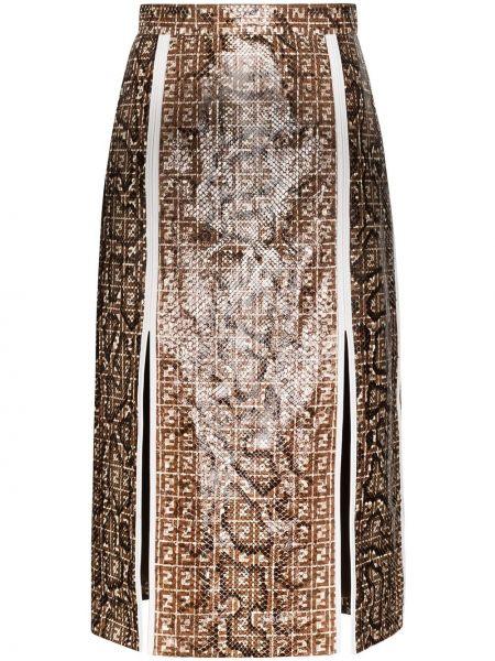 Коричневая кожаная юбка миди в рубчик Fendi