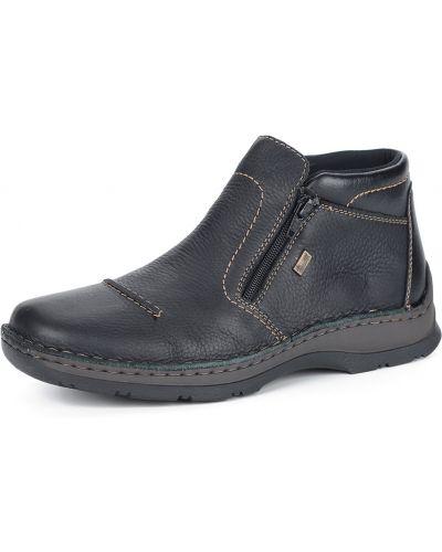 Черные кожаные ботинки на молнии Rieker