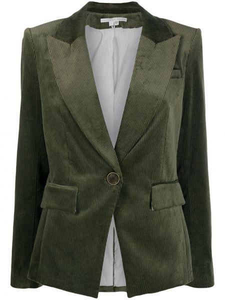 Зеленый прямой кожаный удлиненный пиджак Veronica Beard