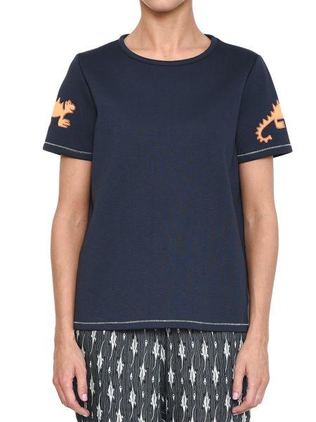 Хлопковая футболка - синяя Rene Lezard