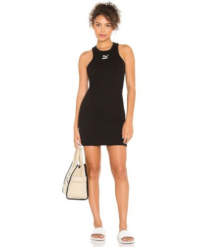 Хлопковое черное спортивное платье с вышивкой Puma
