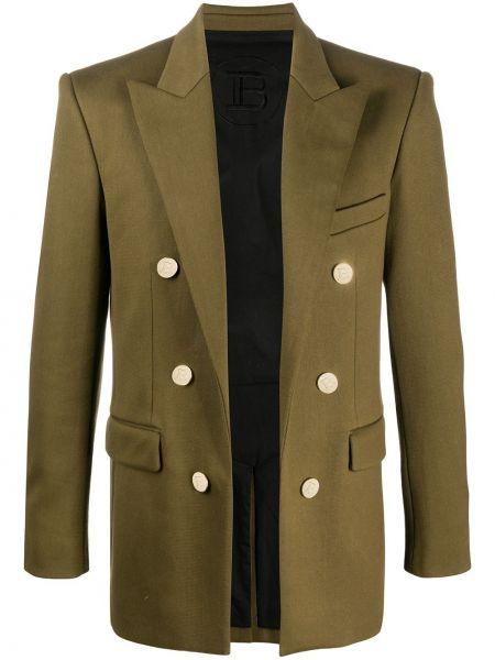 Зеленый трикотажный удлиненный пиджак с карманами Balmain