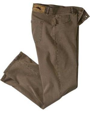 Коричневые хлопковые джинсы стрейч с заклепками Atlas For Men