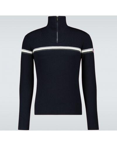 Niebieski sweter wełniany w paski Fusalp